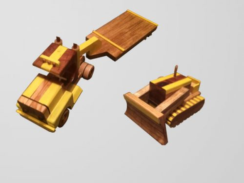 Bulldozer and Semi with Trailer